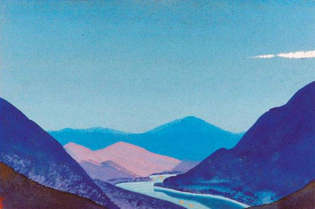 The Himalayas # 179 Lights on the river. Roerich N.K. (Part 4)