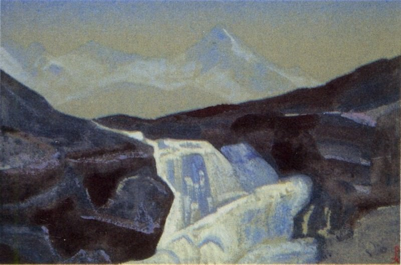 Waterfall (Santana) # 141 (the Himalayas. Waterfall). Roerich N.K. (Part 4)