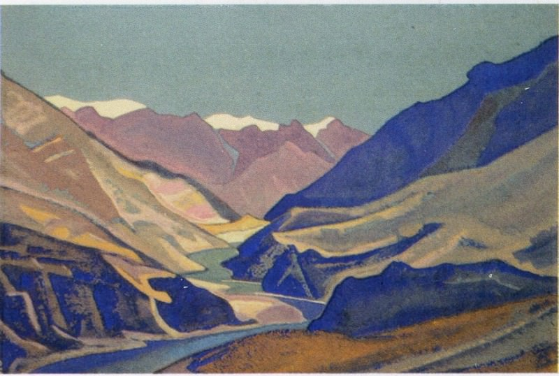 The Himalayas # 166 The river winding between the mountains. Roerich N.K. (Part 4)