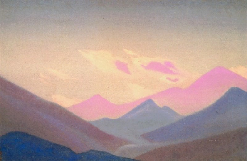 Himalayas # 88 Mountains at sunset. Roerich N.K. (Part 4)