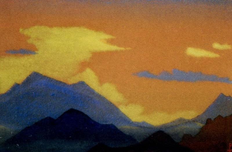 Evening # 123 Evening (mountain range at sunset). Roerich N.K. (Part 4)
