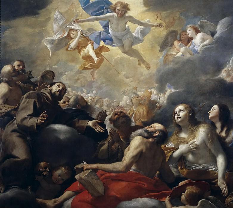 Preti, Mattia -- Cristo en gloria con santos. Part 1 Prado museum