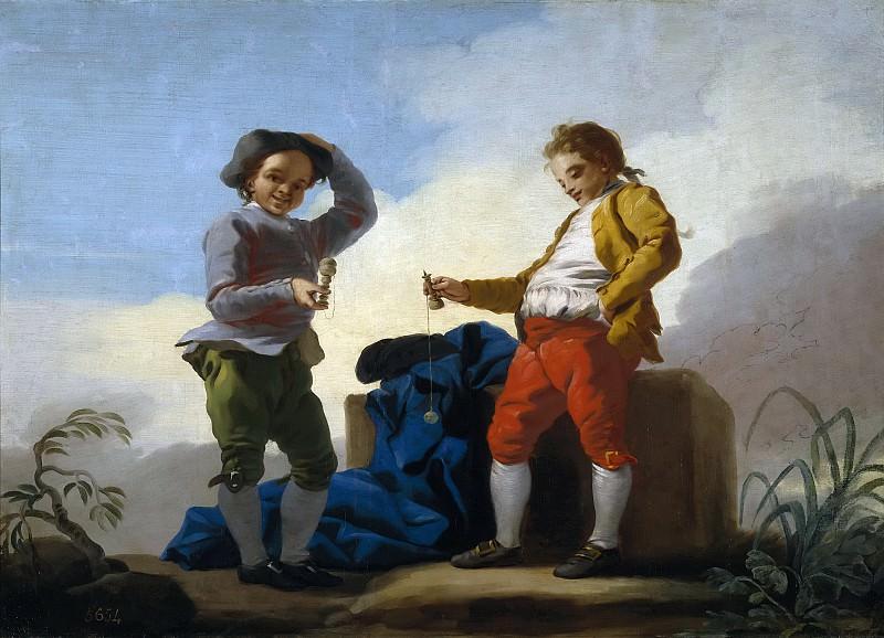Castillo, José del -- Muchachos jugando al boliche. Part 1 Prado museum