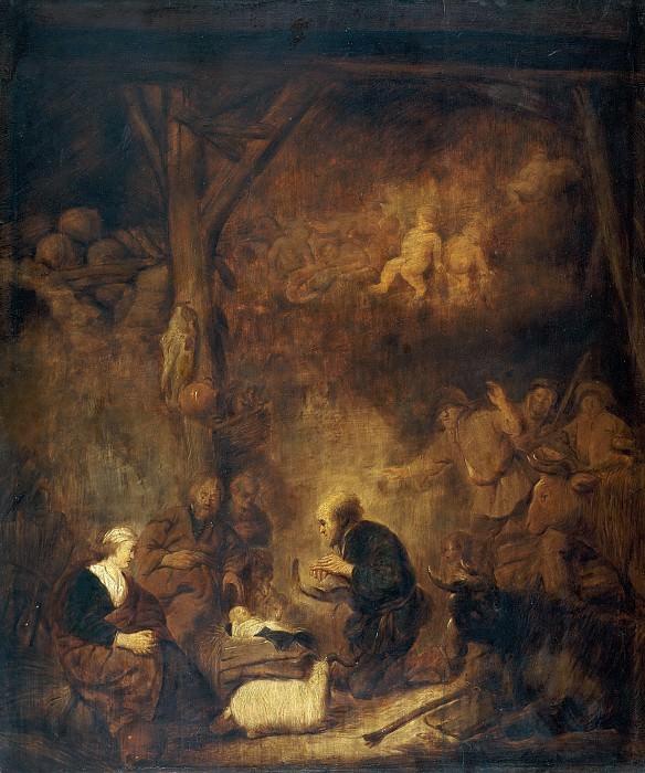 Беньямин Герритс Кейп (мастерская) -- Поклонение пастухов. Часть 1 Музей Прадо