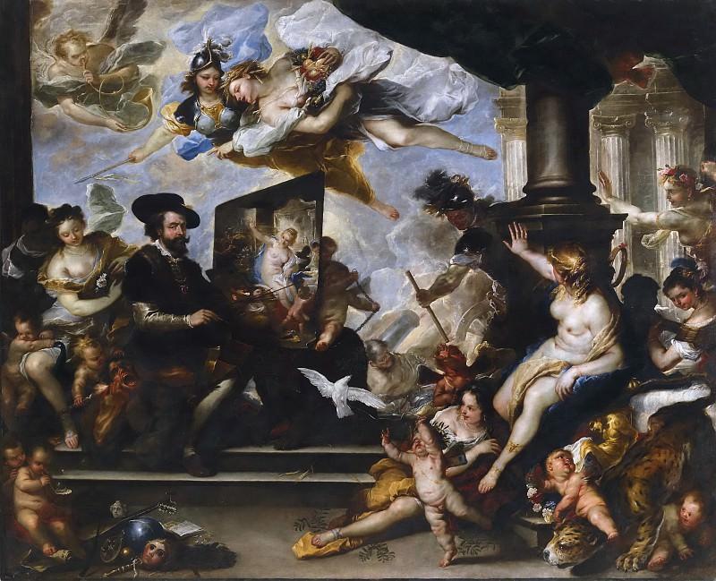 Giordano, Luca -- Rubens pintando la Alegoría de la Paz. Part 1 Prado museum