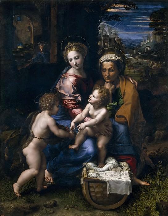 Rafael; Romano, Giulio -- Sagrada Familia, o la Perla. Part 1 Prado museum