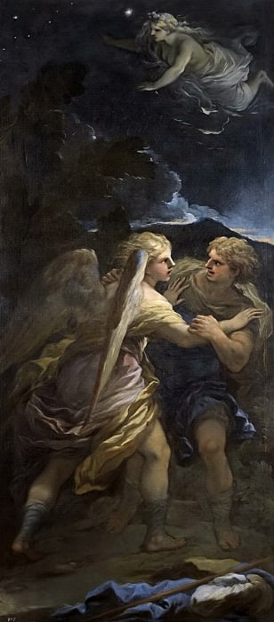 Giordano, Luca -- Lucha de Jacob con el ángel. Part 1 Prado museum
