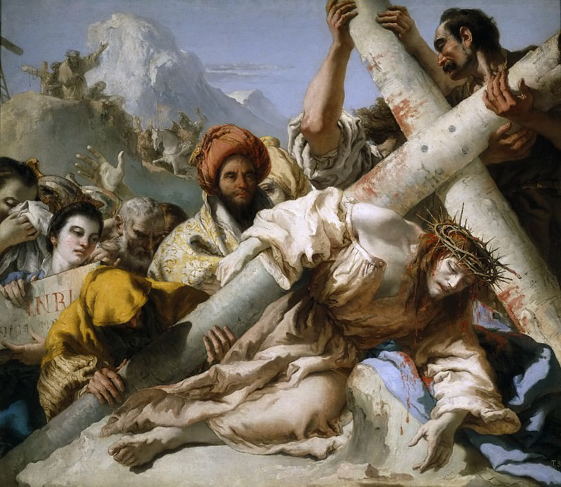 Tiepolo, Giandomenico -- Caída en el camino del Calvario. Part 1 Prado museum