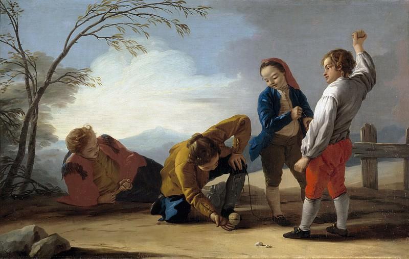 Castillo, José del -- Muchachos jugando a la peonza. Part 1 Prado museum