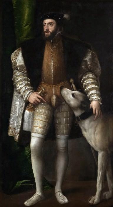 Tiziano, Vecellio di Gregorio -- Carlos V con un perro. Part 1 Prado museum