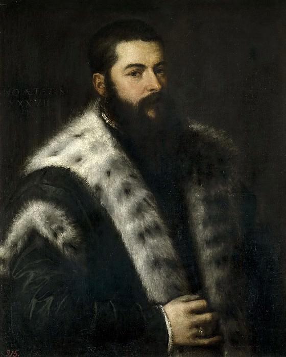 Titian (circle) -- El hombre del cuello de armiños. Part 1 Prado museum