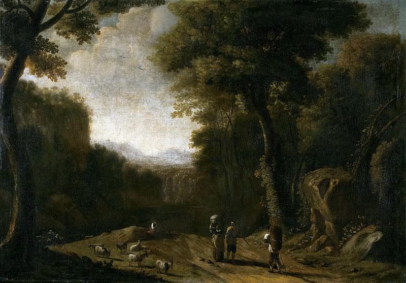 Сваневельт, Херман ван -- Пейзаж с путешественниками и пастором. Часть 1 Музей Прадо
