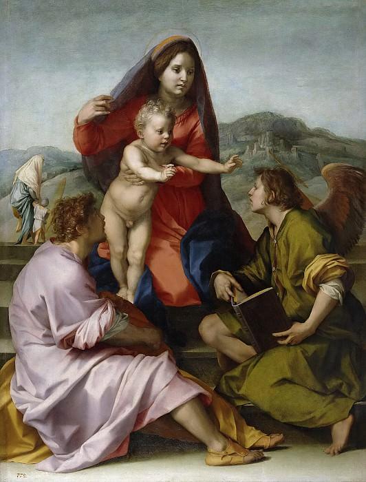 Андреа дель Сарто -- Мадонна с младенцем со св Матфеем и пнгелом. Часть 1 Музей Прадо