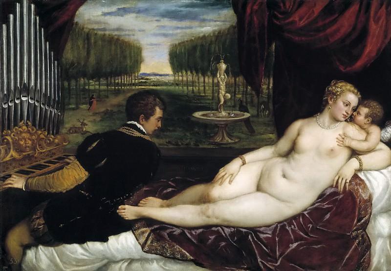 Tiziano, Vecellio di Gregorio -- Venus recreándose con el Amor y la Música. Part 1 Prado museum