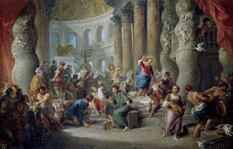 Panini, Giovanni Paolo -- Jesús expulsando a los mercaderes del Templo. Part 1 Prado museum
