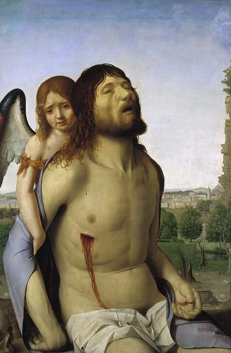 Messina, Antonello de -- Cristo muerto, sostenido por un ángel. Part 1 Prado museum