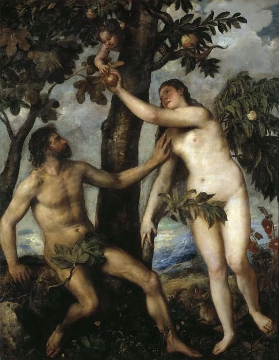 Tiziano, Vecellio di Gregorio -- Adán y Eva. Part 1 Prado museum