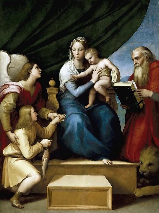 Rafael -- Sagrada Familia con Rafael, Tobías y San Jerónimo, o Virgen del pez. Part 1 Prado museum
