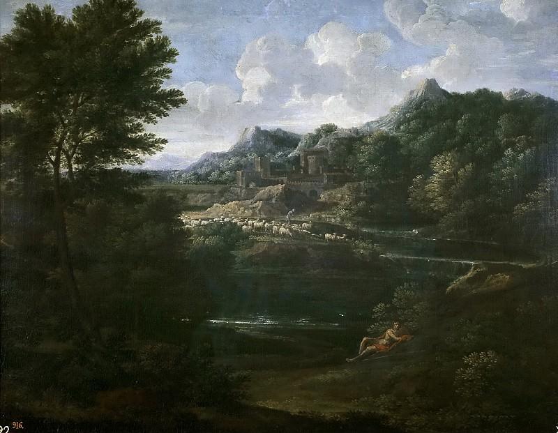 Dughet, Gaspard -- Paisaje con pastor. Part 1 Prado museum