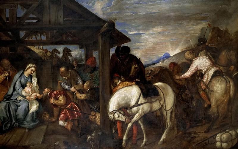 Tiziano, Vecellio di Gregorio -- La Adoración de los Reyes Magos. Part 1 Prado museum