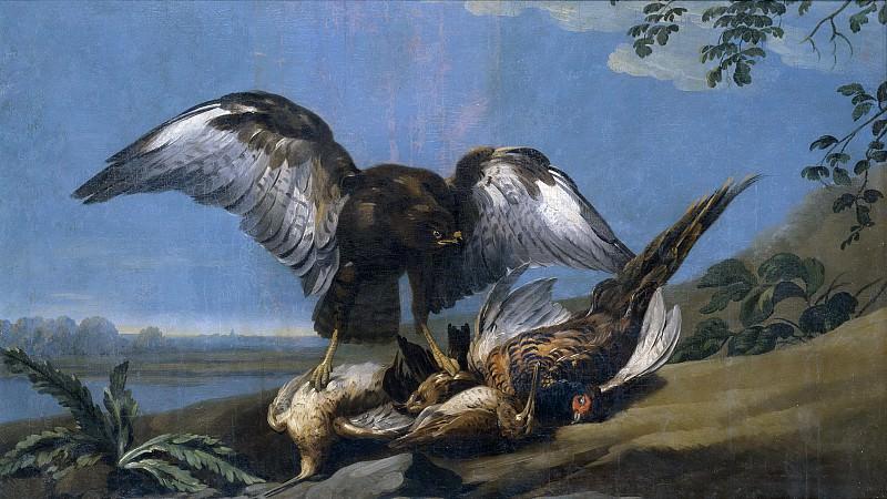 Castillo, José del -- Milano con un grupo de aves muertas. Part 1 Prado museum