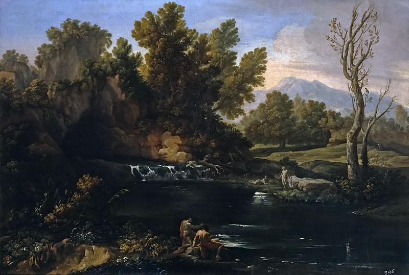Giaquinto, Corrado -- Paisaje con cascada. Part 1 Prado museum