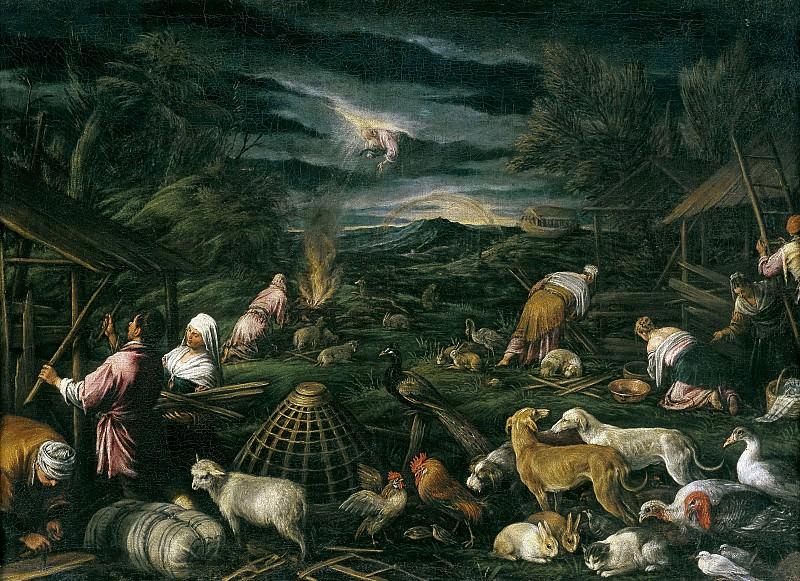 Anónimo (Taller de Bassano) -- Noé después del Diluvio. Part 1 Prado museum