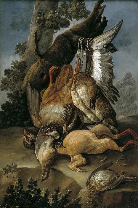 Nani, Mariano -- Bodegón de caza: perdiz, ganso y otras aves. Part 1 Prado museum