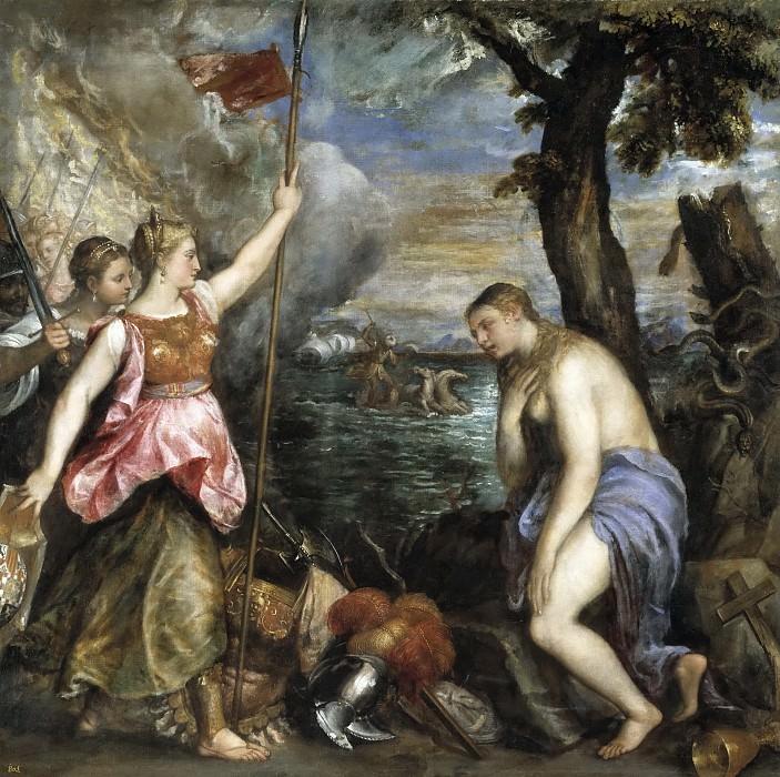 Tiziano, Vecellio di Gregorio -- La Religión socorrida por España. Part 1 Prado museum