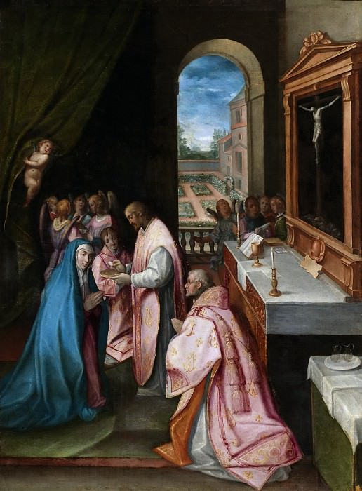Anónimo -- Jesucristo dándole la comunión a la Virgen. Part 1 Prado museum