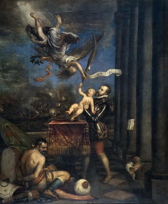 Филипп II, после победы при Лепанто, вручает богам принца Фердинанда. Тициан (Тициано Вечеллио)