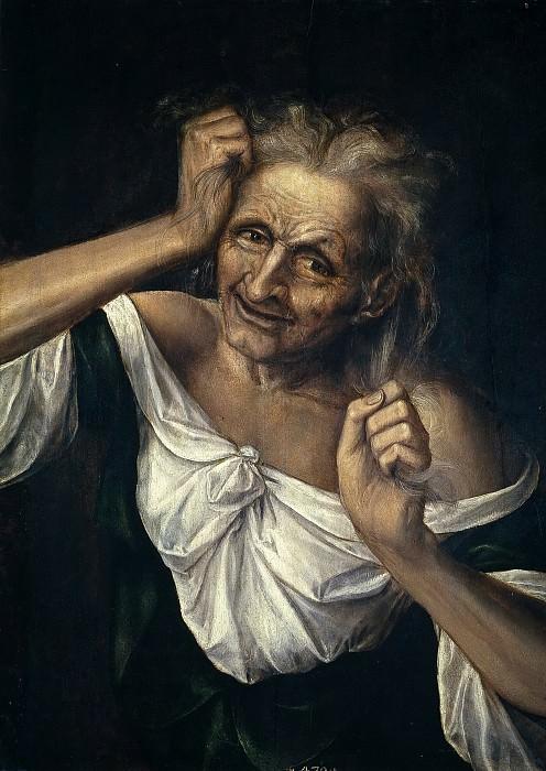 Massys, Quentin (Atribuido a) -- Vieja mesándose los cabellos. Part 1 Prado museum