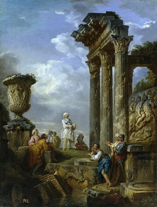 Panini, Giovanni Paolo -- Ruinas con mujer dirigiendo la palabra a varias personas o Predicación de una sibila. Part 1 Prado museum