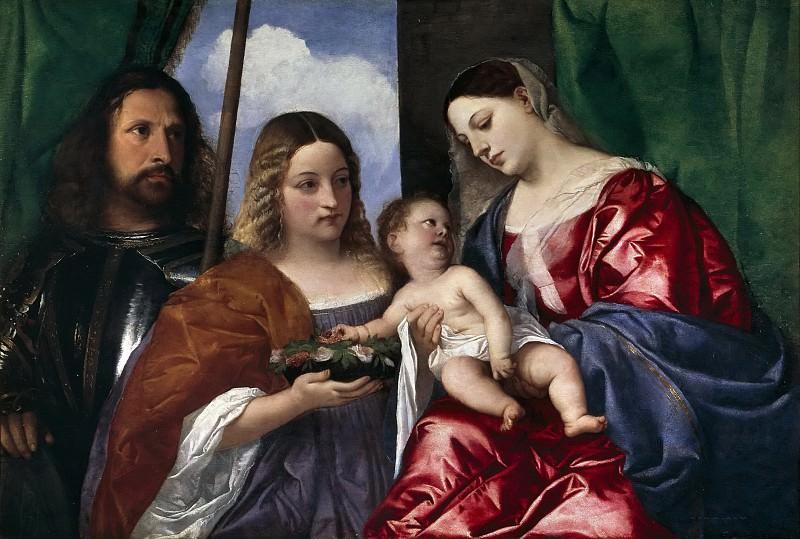 La Virgen con el Niño, Santa Dorotea y San Jorge. Titian (Tiziano Vecellio)