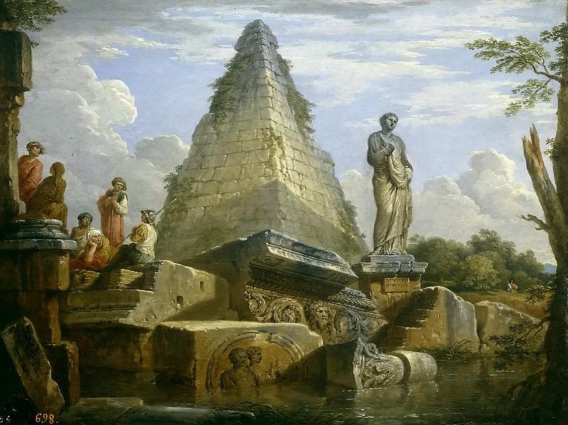 Panini, Giovanni Paolo -- Ruinas con la Pirámide de Cayo Cestio. Part 1 Prado museum