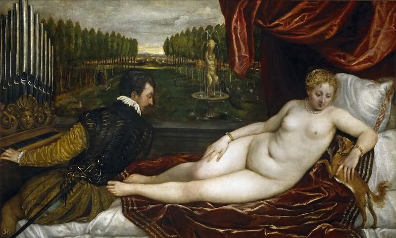 Венера, наслаждающаяся органной музыкой. Тициан (Тициано Вечеллио)