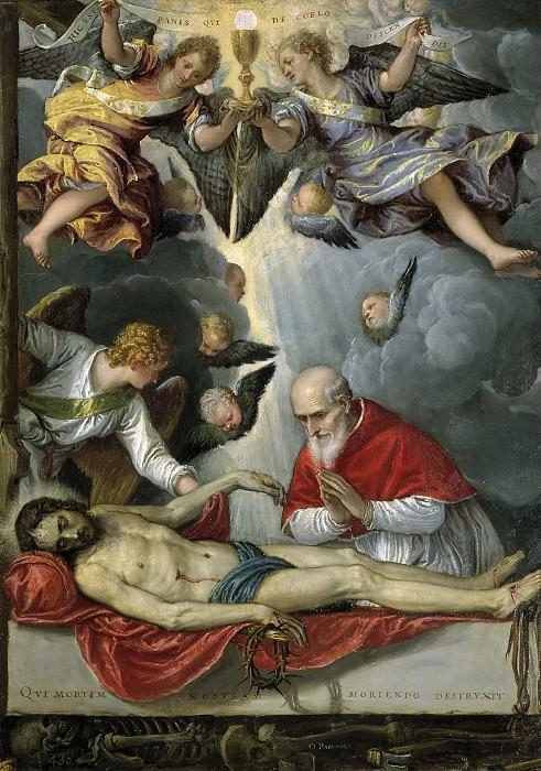 Parrasio, Michele -- Cristo yacente, adorado por el papa San Pío V. Part 1 Prado museum