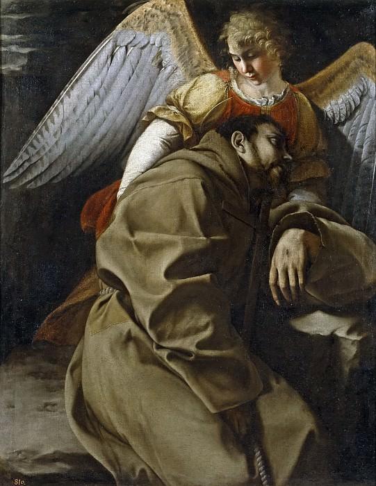Gentileschi, Orazio Lomi de -- San Francisco sostenido por un ángel. Part 1 Prado museum