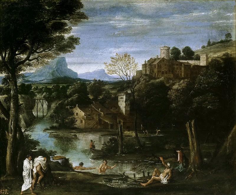 Carracci, Annibale (Atribuido a) -- Paisaje con río y bañistas. Part 1 Prado museum