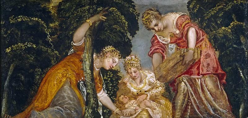Tintoretto, Jacopo Robusti -- Moisés salvado de las aguas. Part 1 Prado museum