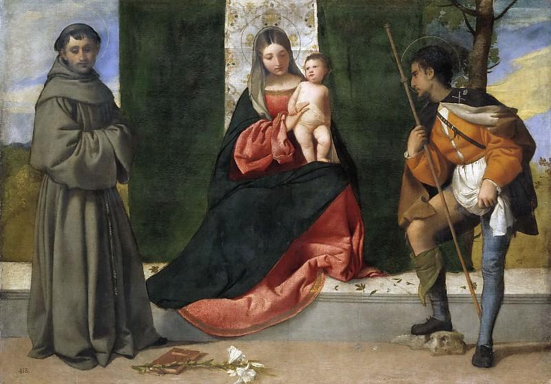 Tiziano, Vecellio di Gregorio -- La Virgen con el Niño, entre San Antonio de Padua y San Roque. Part 1 Prado museum