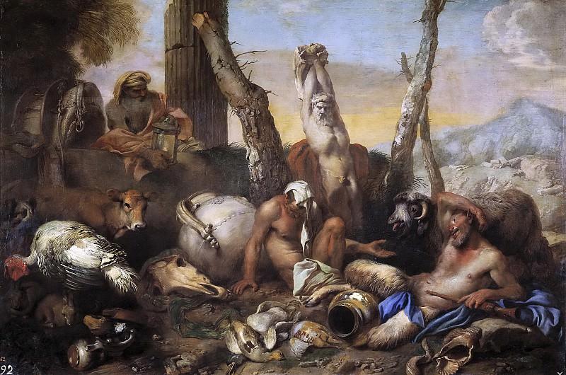 Castiglione, Giovanni Benedetto -- Diógenes buscando a un hombre. Part 1 Prado museum