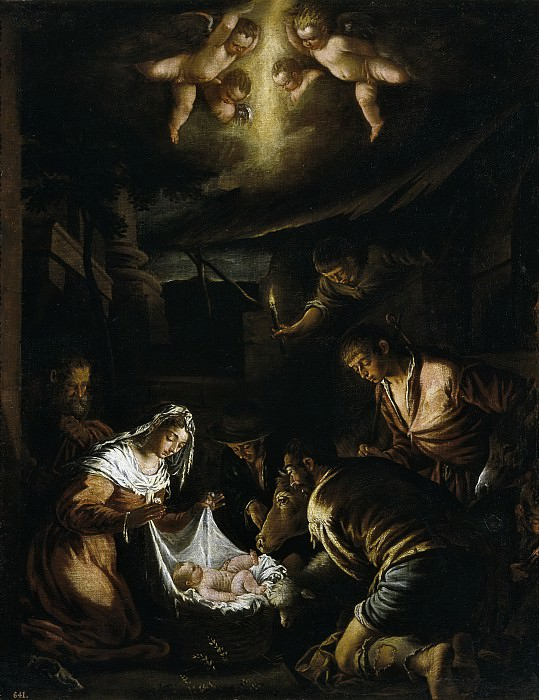 Anónimo (Taller de Bassano) -- La Adoración de los pastores. Part 1 Prado museum
