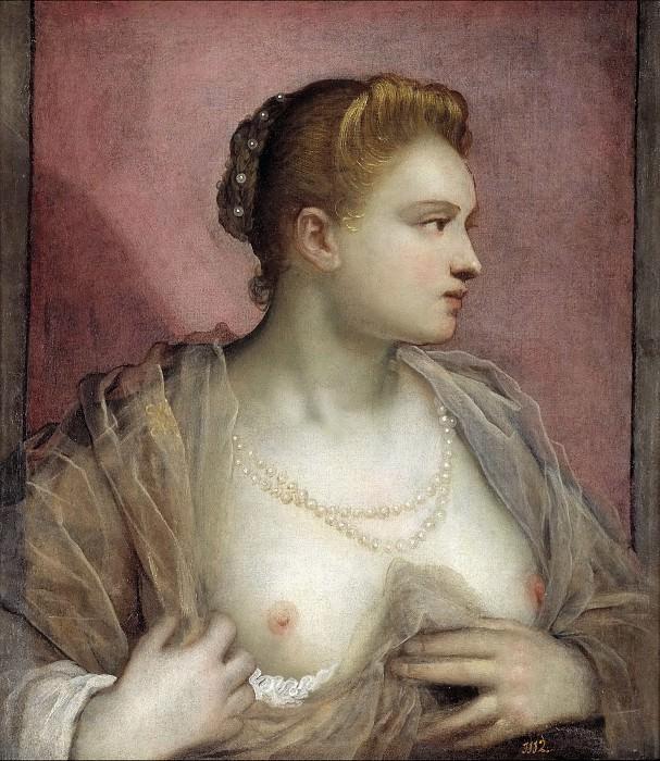 Тинторетто, Доменико -- Женщина с обнаженной грудью. Часть 1 Музей Прадо