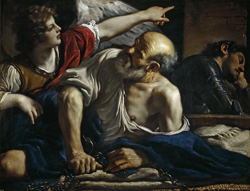 Guercino -- San Pedro liberado por un ángel. Part 1 Prado museum