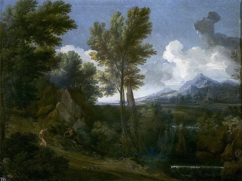 Dughet, Gaspard -- Paisaje con caminante. Part 1 Prado museum