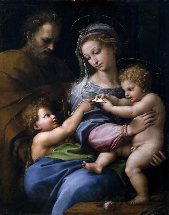 Rafael -- Sagrada Familia con San Juanito, o Virgen de la rosa. Part 1 Prado museum