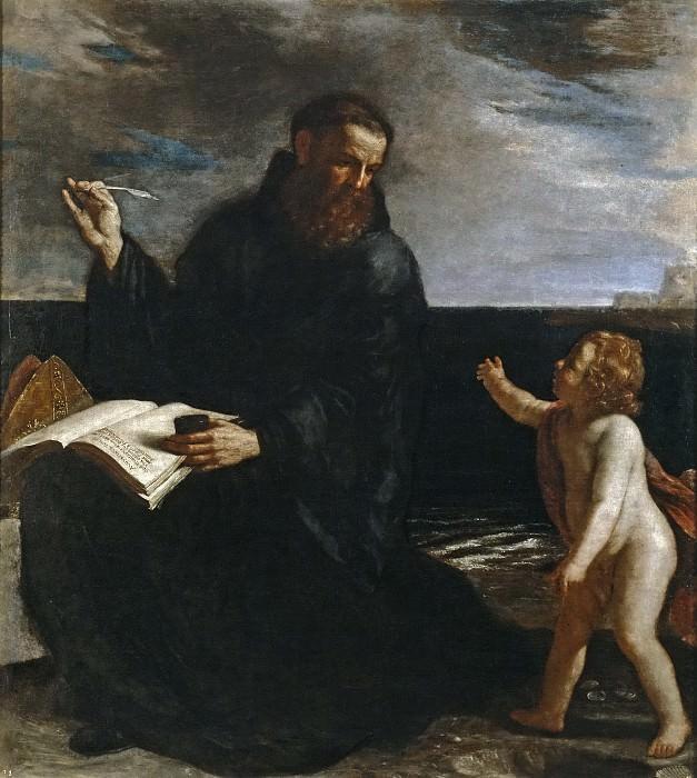 Guercino -- San Agustín meditando sobre la Trinidad. Part 1 Prado museum