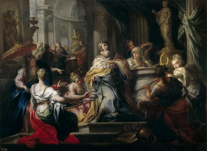 Conca, Sebastiano -- La idolatría de Salomón. Part 1 Prado museum