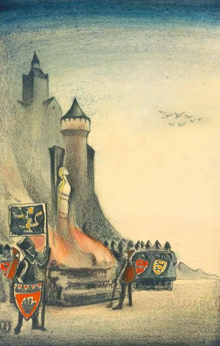 Joan of Arc. Virgin at the stake (sketch). Roerich N.K. (Part 3)